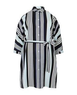 Plus Size Blue Stripe Cold Shoulder Shirt Dress | New Look