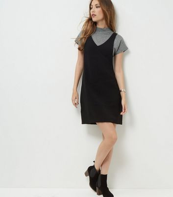 Product photo of Tall black textured pinafore dress