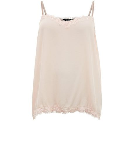 Curves Shell Pink Lace Trim Cami  | New Look