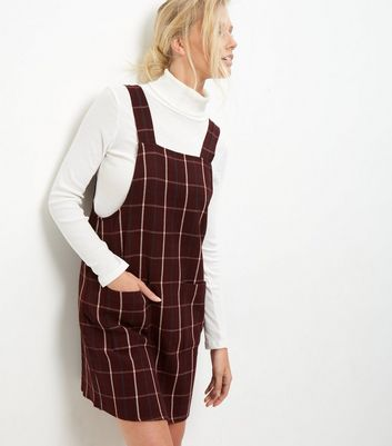 Product photo of Tall red check pinafore dress