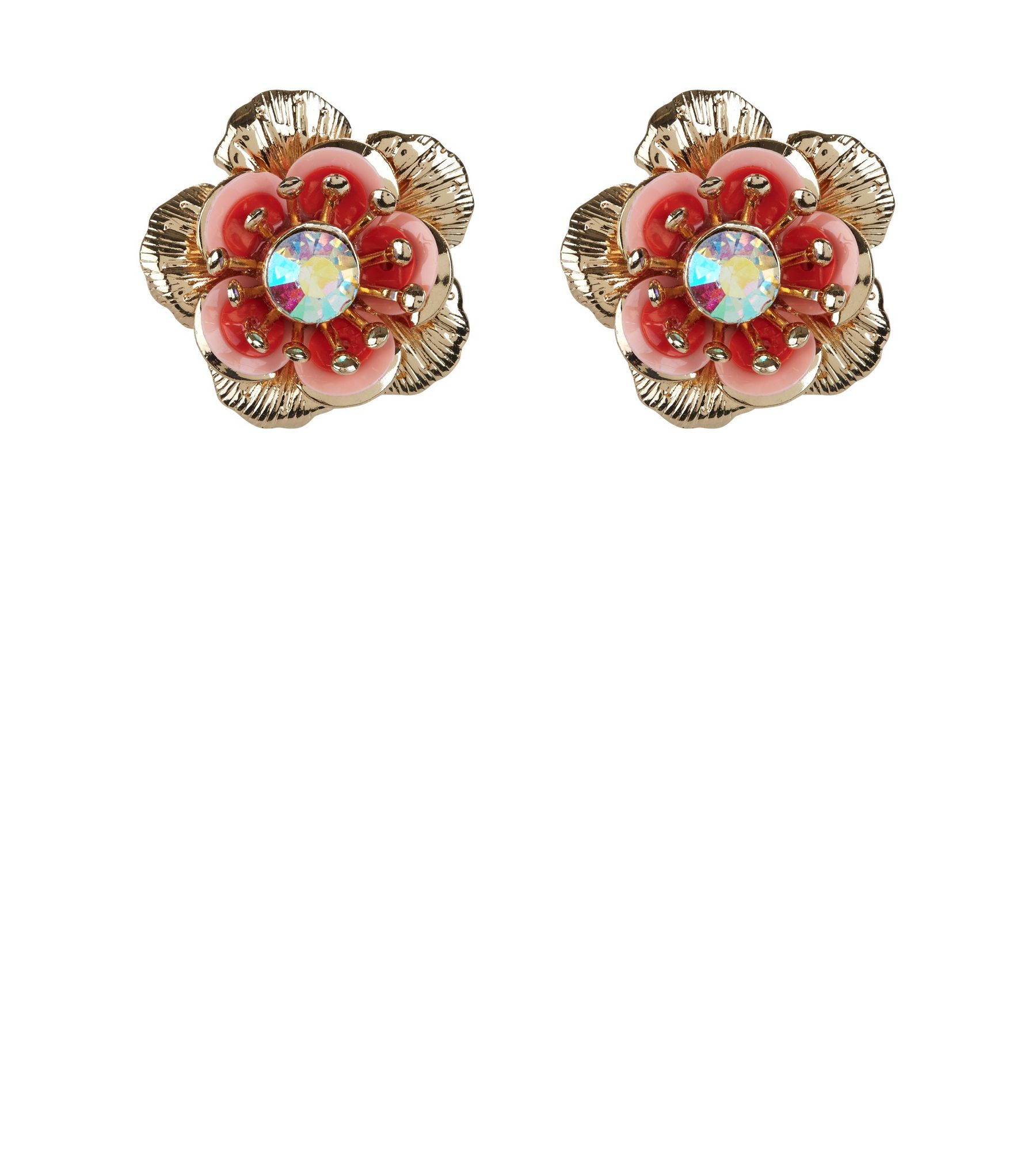 Shell Pink Floral Sequin Stud Earrings | New Look
