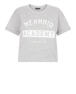 Grey Mermaid Academy Roll Sleeve Crop Top  | New Look