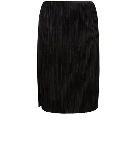 Curves Black Pleated Midi Skirt | New Look