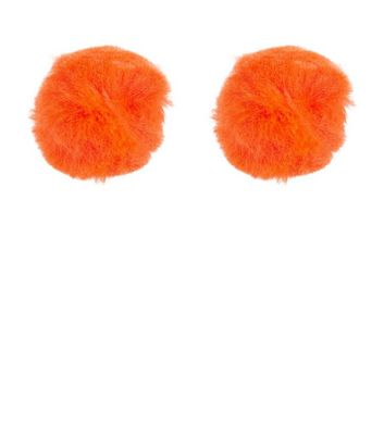 Orange Pom Pom Stud Earrings