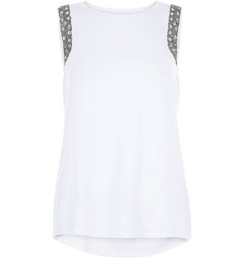 Anita and Green White Embellished Trim Vest