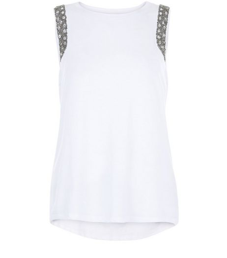 Anita and Green White Embellished Trim Vest | New Look