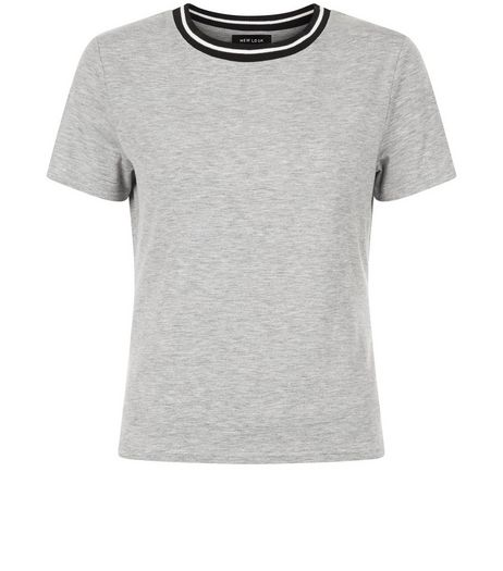 Grey Contrast Trim T-Shirt  | New Look