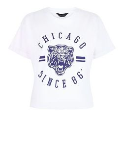 White Chicago Tiger Crop Top  | New Look
