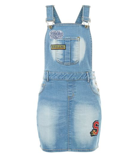 Blue Vanilla Blue Badge Dungaree Dress | New Look