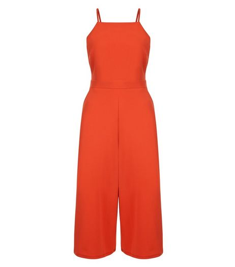 Red High Neck Culotte Jumpsuit | New Look