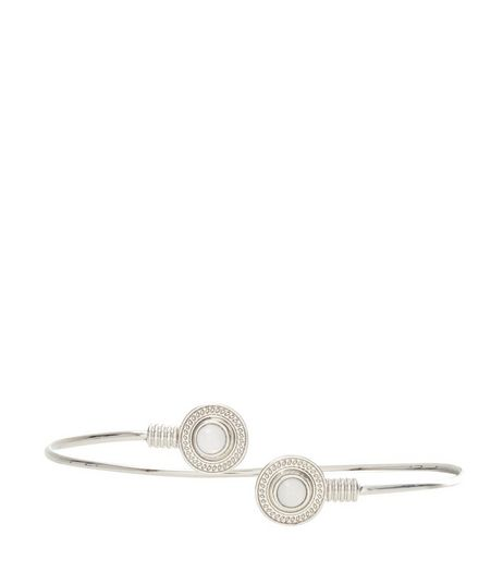 Silver Stone Disc Arm Cuff | New Look