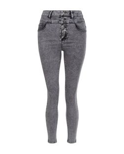 Petite Grey High Waist Skinny Jeans | New Look
