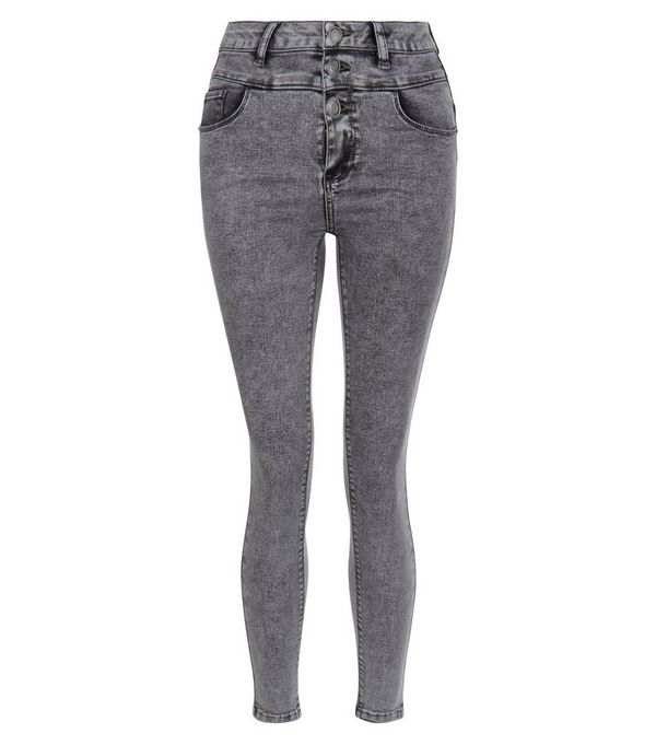 Petite Grey High Waist Skinny Jeans