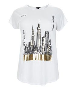 Curves White New York City Print T-Shirt | New Look