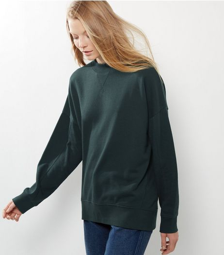 Dark Green Balloon Sleeve Sweater  | New Look
