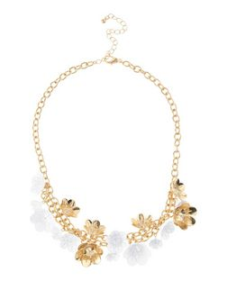 White Metal Flower Necklace  | New Look
