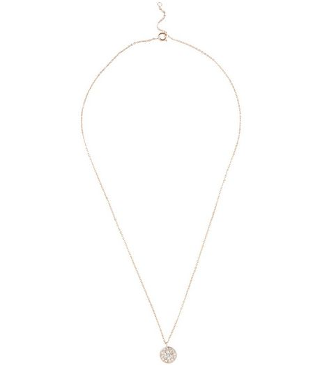Rose Gold Plated Diamante Disc Pendant Necklace | New Look
