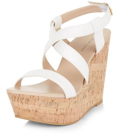 White Cross Strap Platform Cork Wedges  | New Look
