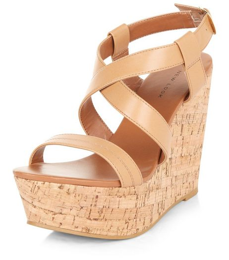 Tan Cross Strap Cork Wedges  | New Look