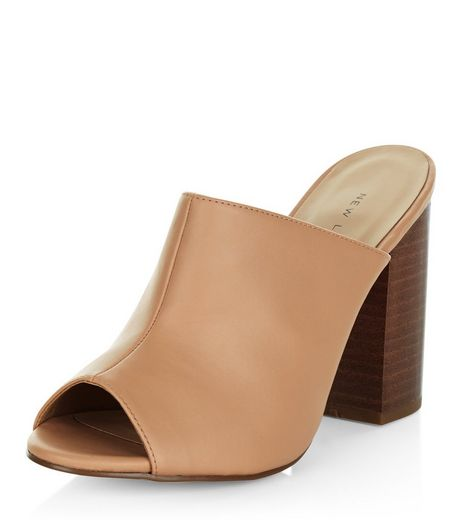 Nude Peep Toe Block Heel Mules  | New Look