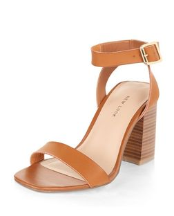 Tan Square Toe Block Heel Sandals  | New Look