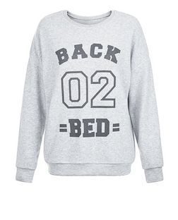 Pale Grey Back 02 Bed Print Sweater Pyjama Top | New Look