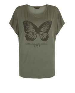 Khaki Butterfly Cocoon T-Shirt  | New Look