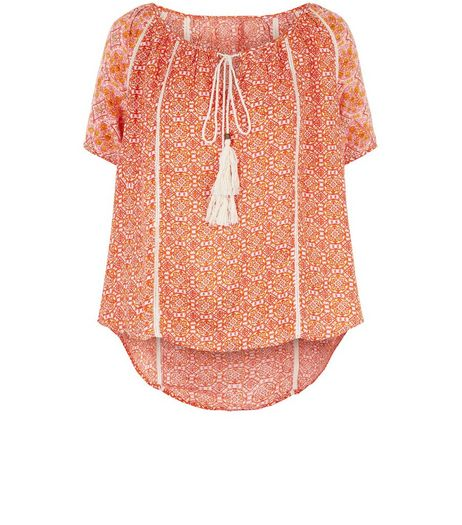 Apricot Orange Abstract Print Tie Front Top | New Look