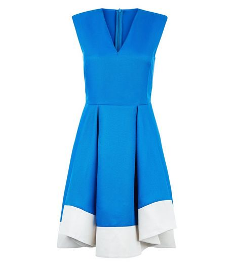 Apricot Blue Colour Block V Neck Dress | New Look