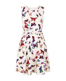 Mela White Butterfly Print Sleeveless Dress | New Look