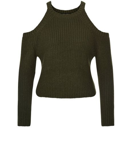 Teens Khaki Ribbed Cold Shoulder Jumper | New Look