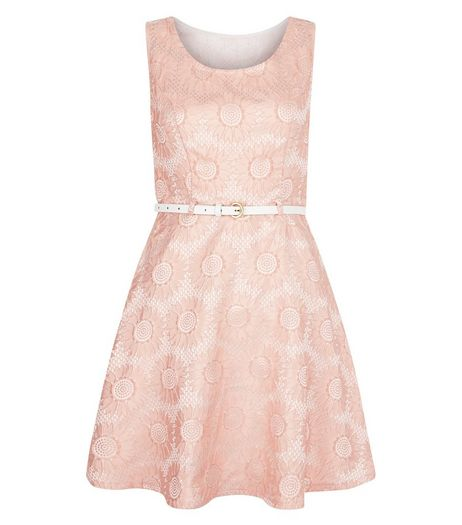 Mela Pink Floral Print Belted Skater Dress | New Look