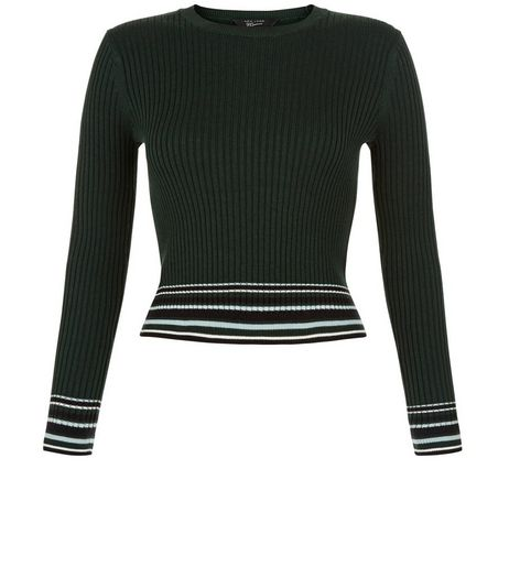 Teens Green Contrast Stripe Trim Jumper | New Look