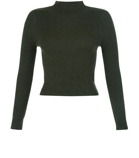Teens Dark Green Ribbed Funnel Neck Jumper | New Look