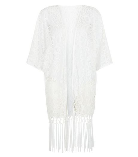 Mela White Lace Fringed Kimono | New Look