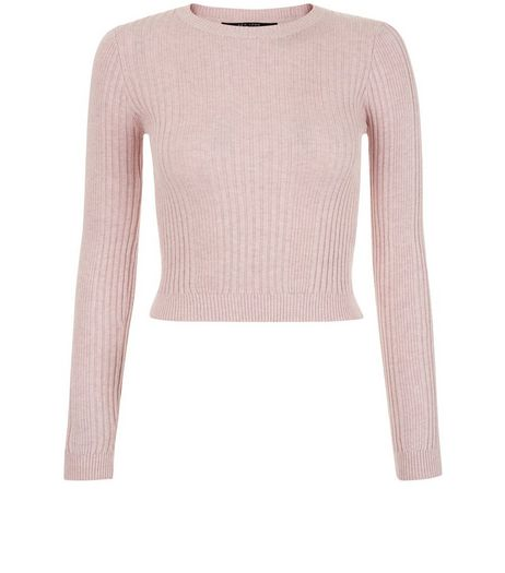 Teens Pink Crew Neck Ribbed Jumper  | New Look
