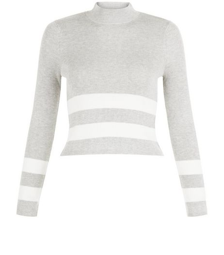 Teens Grey Stripe Funnel Neck Jumper | New Look