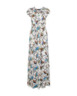 Mela White Bird Print Maxi Dress | New Look