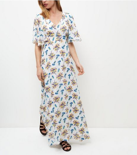 Mela White Floral Print V Neck Maxi Dress | New Look