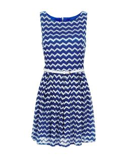 Mela Blue Zig Zag Print Belted Skater Dress | New Look