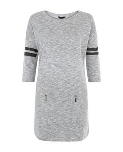 Grey Stripe Sleeve Zip Pocket Tunic Dress  | New Look