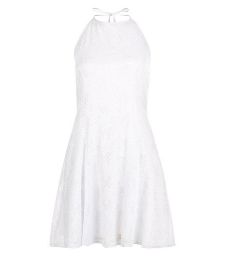 White Flounce Lace Halter Neck Skater Dress  | New Look