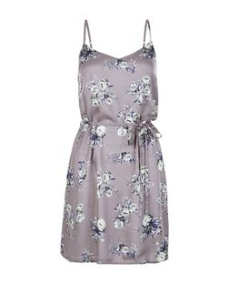 Grey Floral Print Tie Waist Cami Slip Dress | New Look