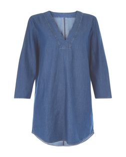 JDY Blue Denim 3/4 Sleeve Tunic Dress  | New Look