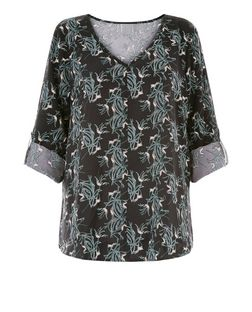 JDY Grey Floral Print V Neck Roll Sleeve Blouse  | New Look