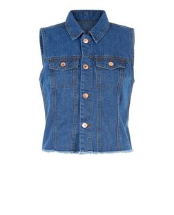 JDY Blue Denim Sleeveless Jacket | New Look