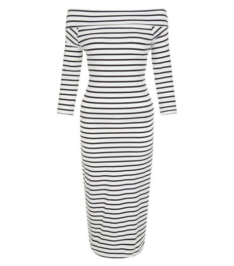 JDY Grey Stripe Bardot Neck Dress | New Look