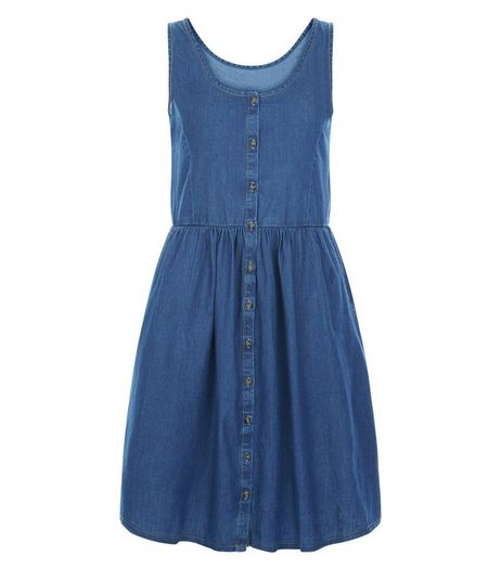JDY Blue Button Front Sleeveless Dress  | New Look