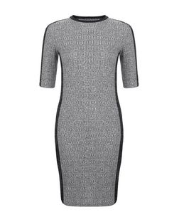 Grey Ribbed Contrast Trim 1/2 Sleeve Bodycon Dress  | New Look