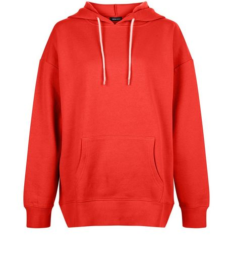 Red Oversized Slouch Hoodie | New Look